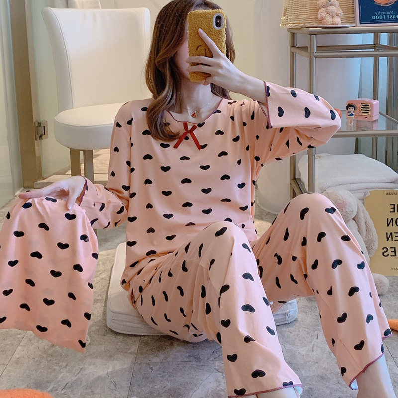 Pajamas Women's Spring And Autumn Long Sleeve Thin Cute Heart Two-Piece Set Korean-style Students Loose-Fit-Outer Wear Tracksuit