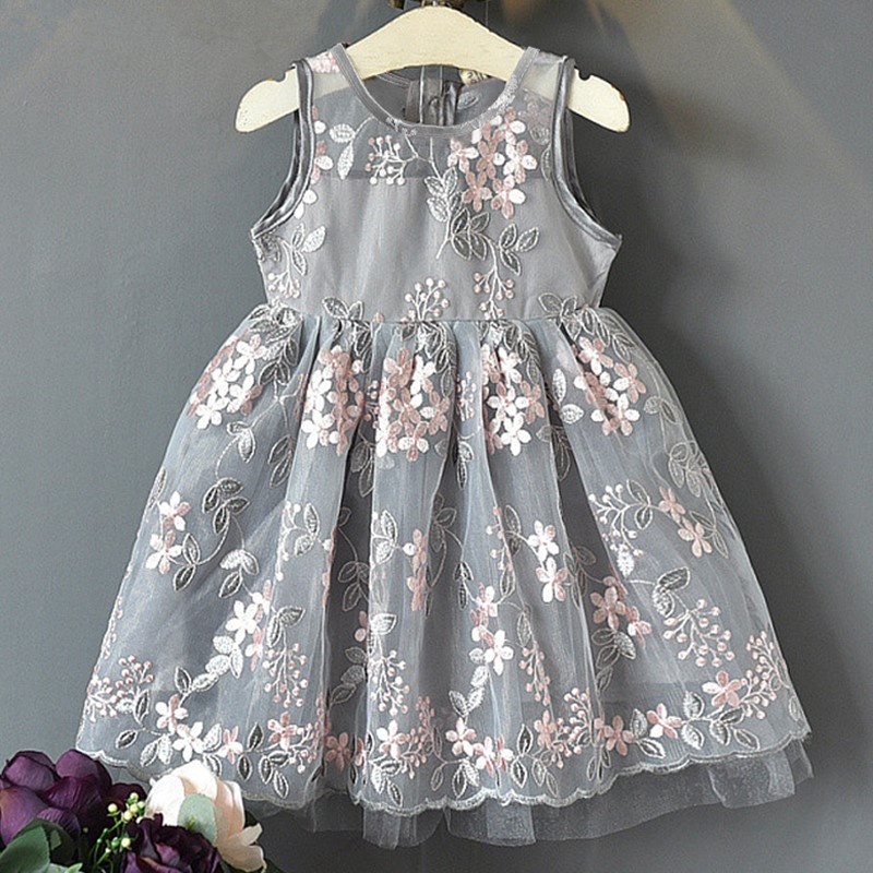 New Lace Flower Princess Dresses Spring Girl Dress Summer Sleeveless Three-Dimensional Petals Pompom Net Yarn Girls Clothes