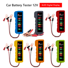 Battery Tester 12V Car Diagnostic Tool Battery Alternator Tester 6 LED Lights Display Auto Battery Tester for Car Motorcycle 12v car motorcycle digital battery alternator load tester 6 led display vehicle battery tester free shipping