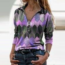 Camisas femininas retro plus size feminino camiseta nova moda com decote em v manga comprida com zíper impressão solta casual camisas femininas topos