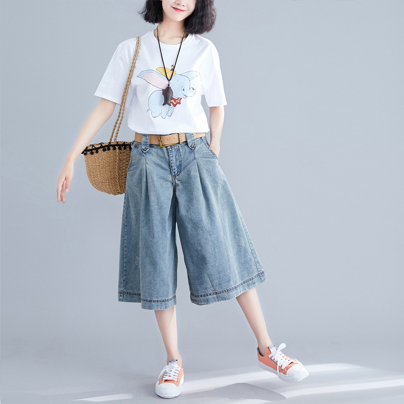 2019 Summer New Style Large Size Dress Loose-Fit Jeans Washing Water Nail Loose Pants Shorts Casual Pants