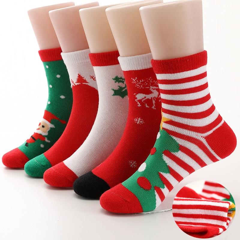 5 Pairs Children Socks Cotton High Quality Red Christmas Boy Socks Girls Socks 2-15 Years Kids Socks