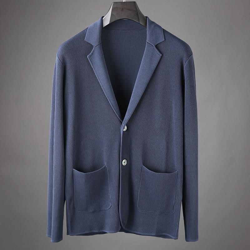 JSBD Sweater Cardigan Sweater Men's Suit Collar Wear Sweater Loose Casual Coat Pl. Brand Clothing XXXXL