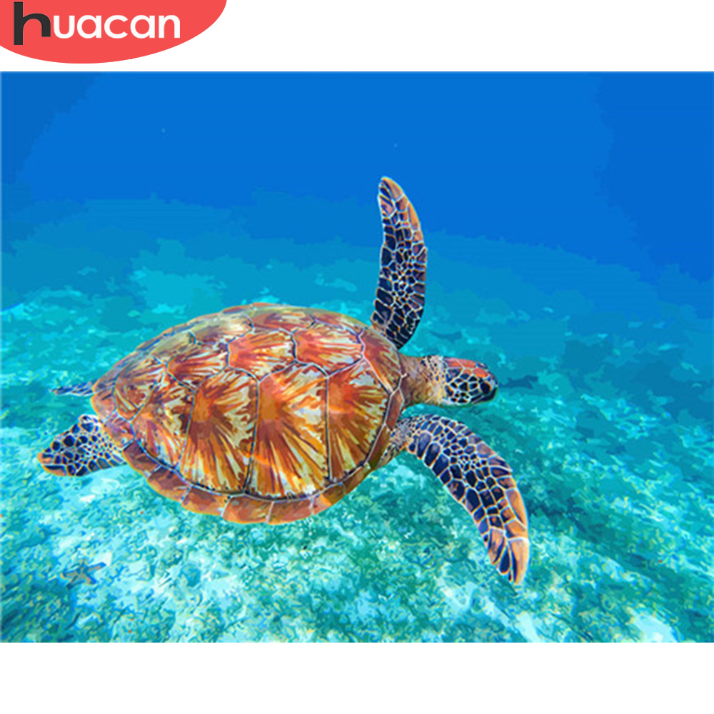 HUACAN Painting By Numbers Sea Turtle Acrylic Paint By Numbers Kit DIY Wall Art Pictures Home Decor
