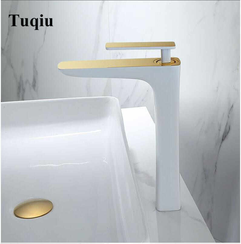 Solid brass White and gold Bathroom basin Faucet Brass Sink Mixer Bathroom Sink Hot and Cold Tap Bathroom Sink Basin Mixer Tap