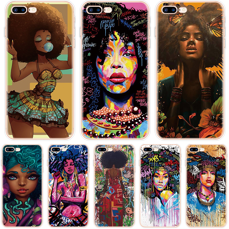 Черная девушка афро Melanin queen Art для iPhone 10 X XS Max XR чехол для iPhone 6S 6 4 4s 5 5S SE 7 8 Plus чехол для iPhone 8 Plus TPU image