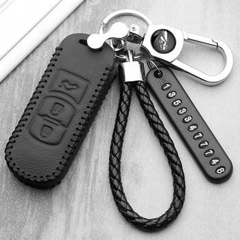 Luminous Leather car key case For Mazda 2 3 6 Axela Atenza CX-5 CX5 CX-7 CX-9 2014 2015 2016 2017 sKey Cover Case Chain carbon car key case for mazda 3 5 6 cx 3 cx 4 cx 5 cx 7 axela atenza smart remote fob protector cover keychain bag accessories