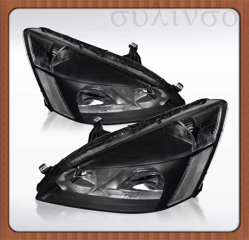 Sulinso 2PCS  2003-2007 Honda Accord LX EX 2Dr 4Dr Pair Black Clear Headlights Lamps