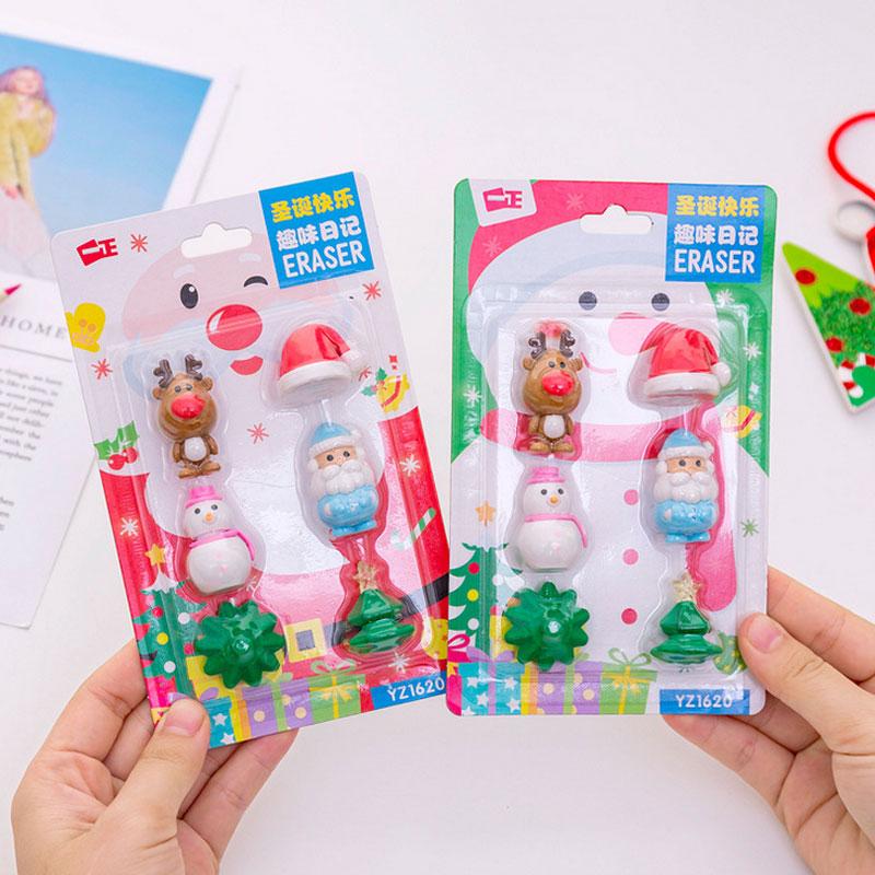6 Pcs/lot Santa Claus Snowman Christmas Tree Eraser Set Pencil Rubber Eraser Kawaii Stationery School Supplies Kids Girl Gifts