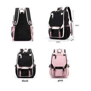 Image 4 - Fengdong kids school backpack for girls korean style black pink cute backpack schoolbag kawaii backpacks for teenage girls gift