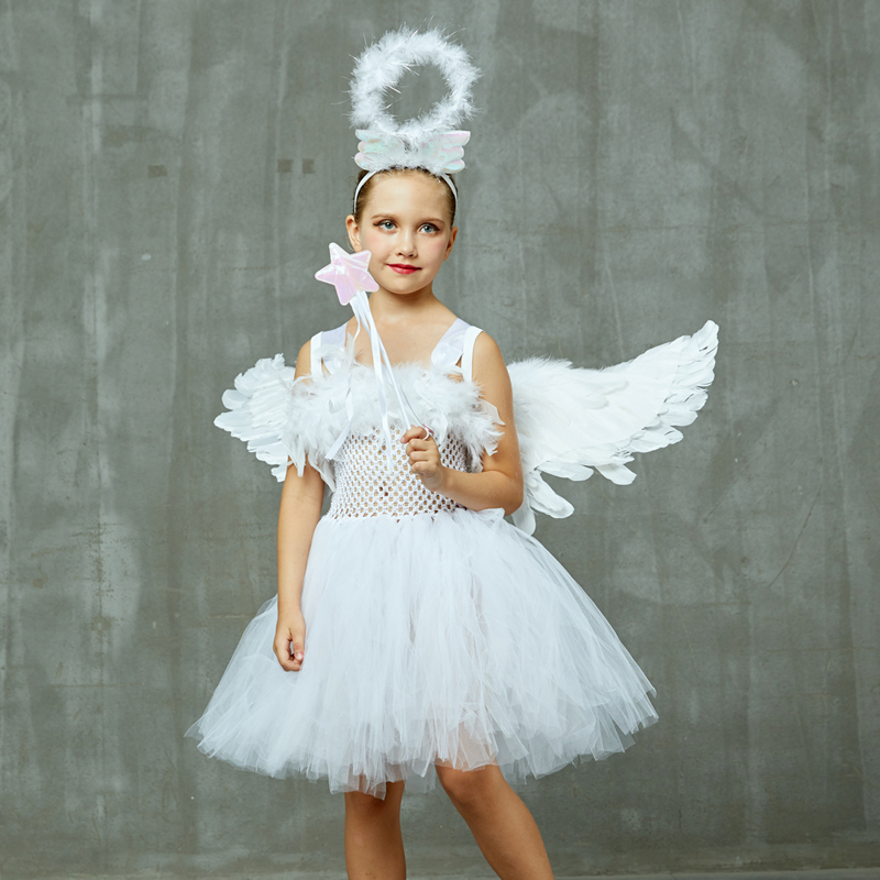 Guardian Angel Kids Halloween Costume White Feather Angel Girls Tutu Dress with Wings & Halo Christmas Nativity Gabriel Clothes (16)