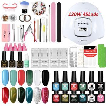 Manicure Set with UV Led Nail Lamp 120W Nail Set 30/20/10 Color UV Gel Nail Polish Kit Sets Tools Set with Nail Drill Gel Set недорого