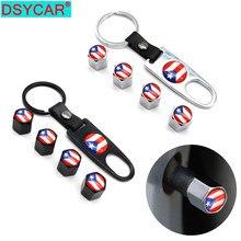 DSYCAR-Tapas de válvula de neumático de rueda de coche, 4 Uds., aleación de Zinc, bandera de Puerto Rico, cubierta de aire + 1 Uds., hebilla de cuero, accesorios de estilo de coche