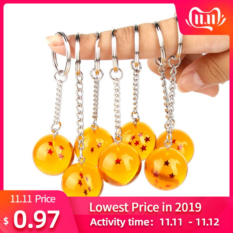 Anime Dragon Goku Ball Super Keychain 3D 1-7 Stars Cosplay Crystal Ball Key Chain Collection Toy Gift Key Ring