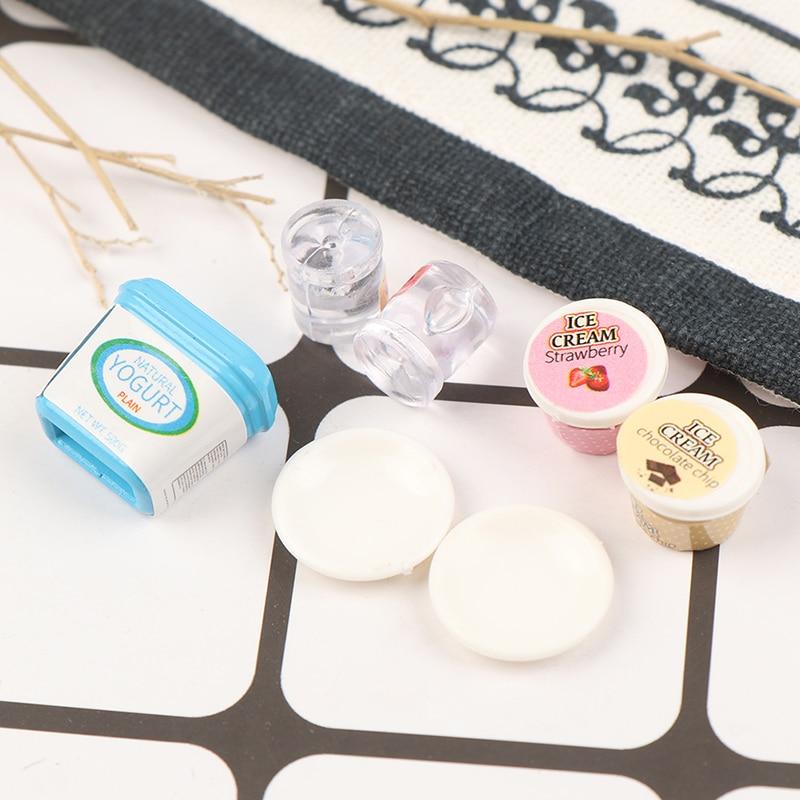 7Pcs Dollhouse Miniature Yogurt ice cream Toys Doll Food Kitchen AccessoriesGY