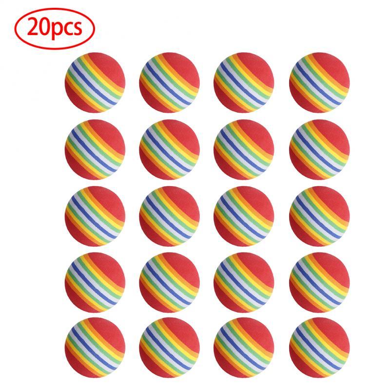 20Pcs 42mm EVA Foam Soft Rainbow Stripe Golf Training Balls Swing Golf Club Beginner Practice Training Aids Ball Indoor