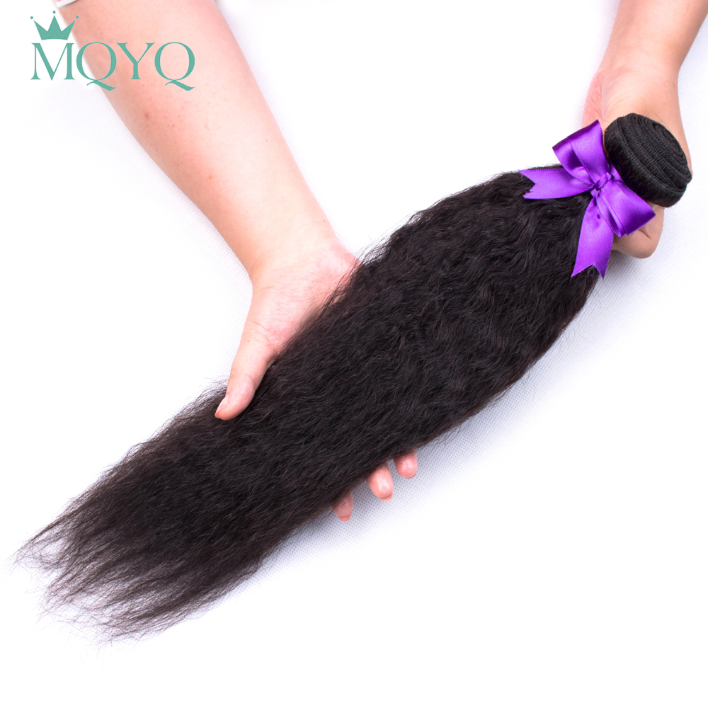 MQYQ Peruvian Kinky Straight Hair Bundles Human Hair Bundles Non-Remy Human Hair Extensions 1Piece Double Weft
