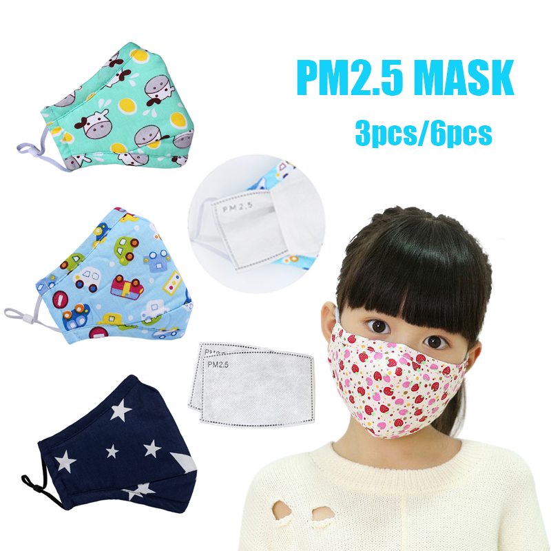 6PCS N95 KN95 Anime Kids Children Mask PM2.5 Filter Cartoon Reusable Face Mouth Masks Cotton Washable Anti Dust