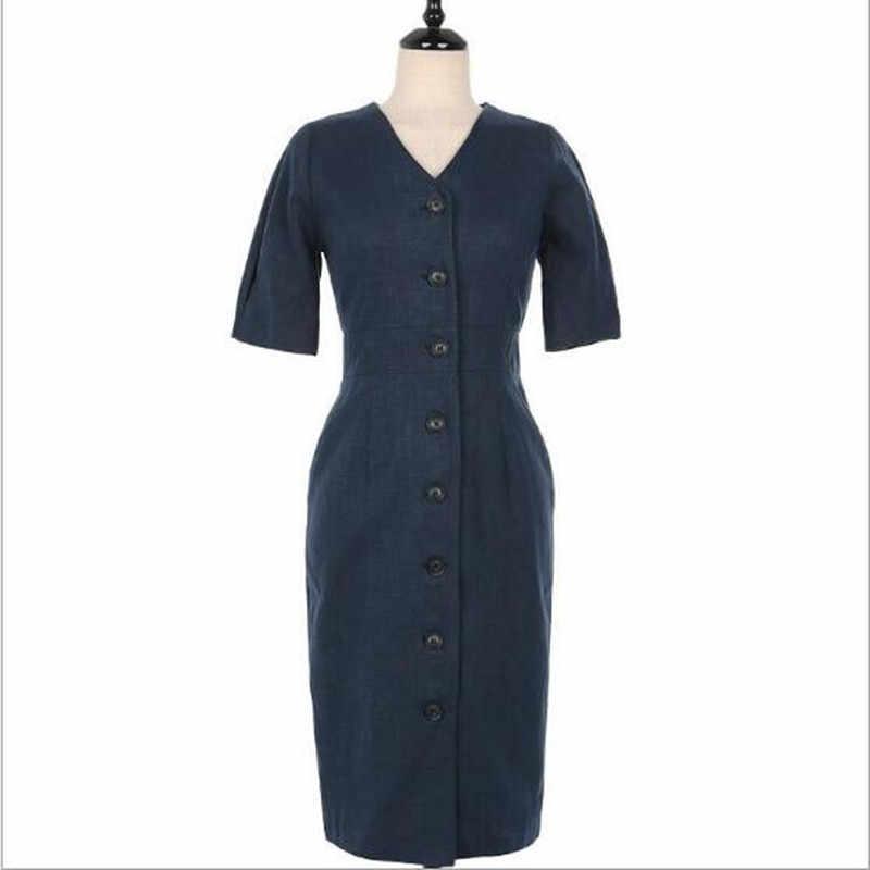 Mujeres sólido breve Sexy cuello en V ajustado vestido de camisa Sukienki solo botonadura linterna manga Vestidos de algodón Lino bata Femme QC450