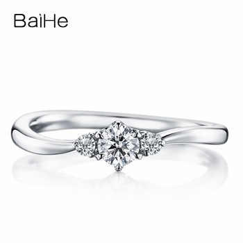 BAIHE Solid 10K White Gold(AU417) Certified 0.25ct Round 100% Moissanite Trendy Engagement Wedding Women Gift Fine Jewelry Ring image
