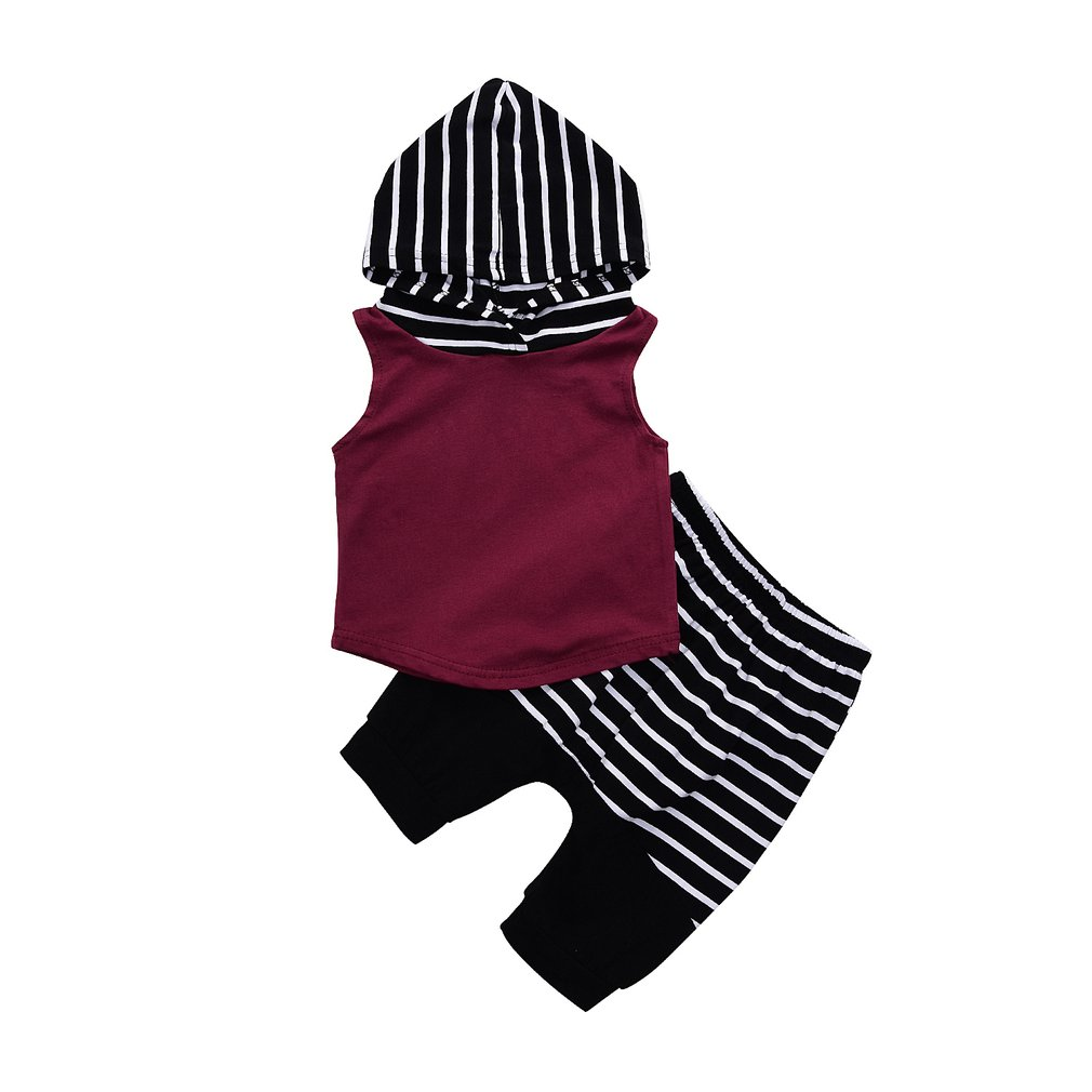 OUTAD 2Pcs Baby Clothes set baby boys clothing set children sleeveless hoodies + stripe Short pants Summer clothes boys sets