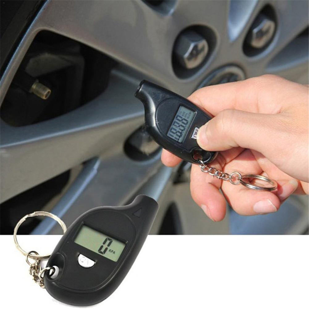 Mini Tire Pressure Gauge LCD Digital Tire Pressure Tester TPMS Car Bike Engine Air Pressure Checker Adapter With Keychain