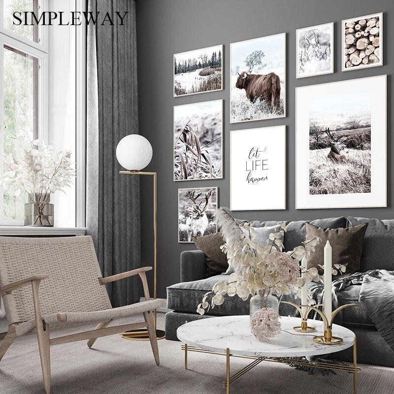 Krajobraz natura druk na płótnie skandynawski plakat styl skandynawski zwierząt jelenie krowa ściana obraz malarstwa artystycznego Modern Home Decoration