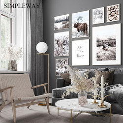 Nature Landscape Canvas Print Scandinavian Poster Nordic Style Animal Deer Cow Wall Art Painting Picture Modern Home Decoration