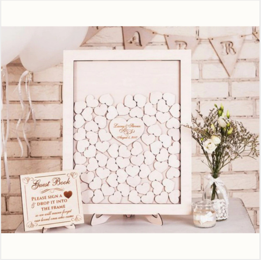 Guest Book Wedding Wooden With Hearts Personalized Guest Book Drop Box Frame Calligraphy Wedding Guestbook Custom Name And Date