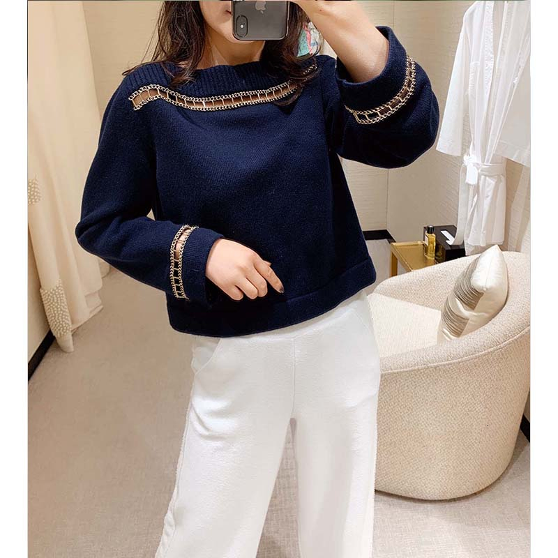 Cosmicchic 2020 Runway Women Cashmere Pullover Sweater Navy Blue Long Sleeve Hedging Hollow Chain Word Collar Knitted Jumper