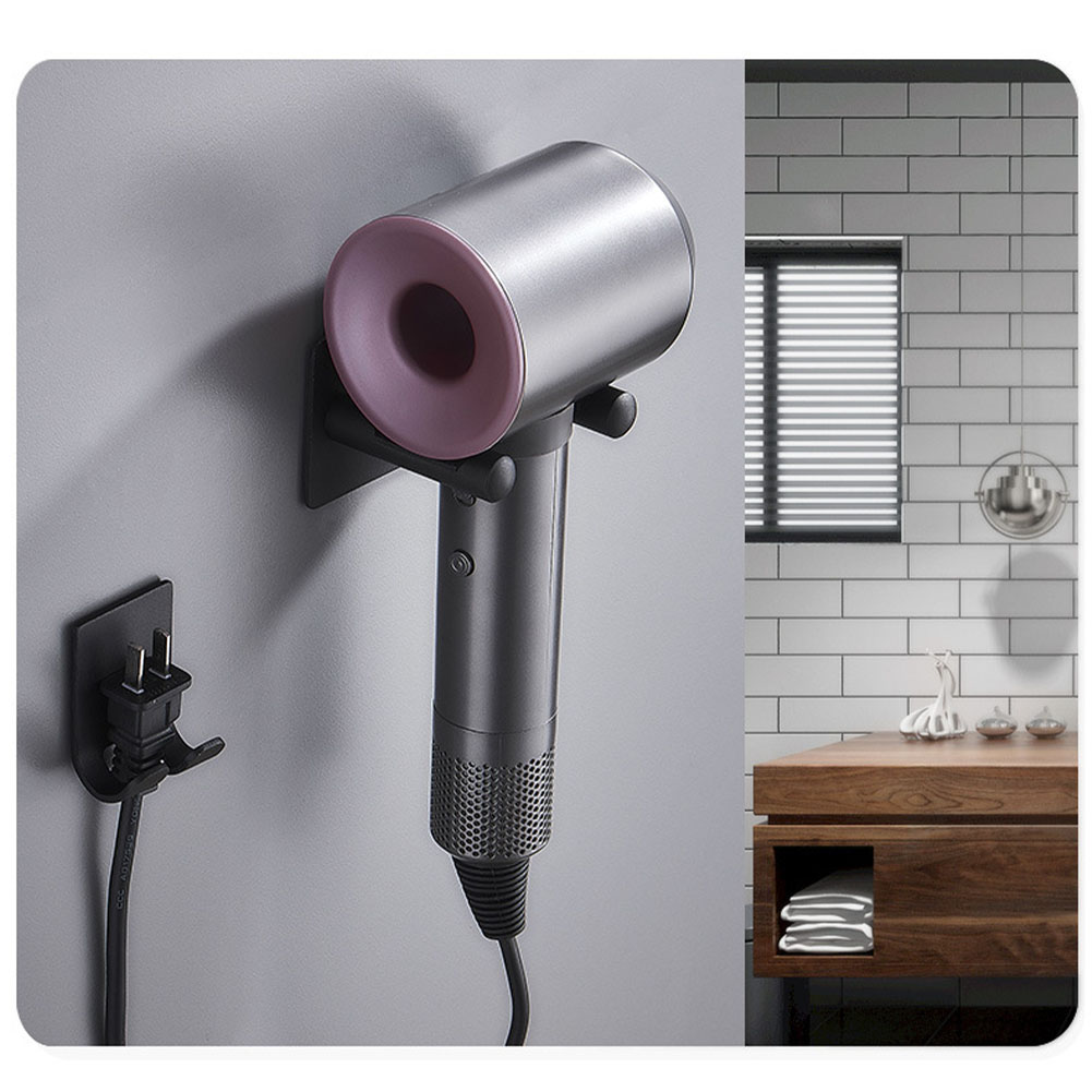 Bracket Free Punch Space Aluminium Silver Wall Mount Organizer Hair Dryer Holder Rustproof Storage Hanger Waterproof Bathroom