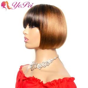Bob-Wig Wigs Bangs Short Human-Hair Honey-Blond Front Straight Brazilian with Yepei