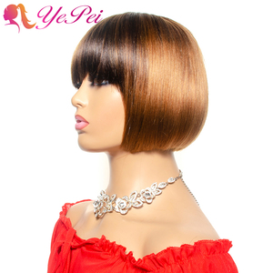 Ombre Short Bob Wig With Bangs Brazilian Straight Human Hair Wigs Honey Blond Human Hair Full Wigs With Front Bang Remy Hair(China)