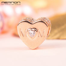 Memnon 925 Sterling Silver MOM Love in Hearts Charms กับ Rose Fit สร้อยข้อมือผู้หญิง(China)
