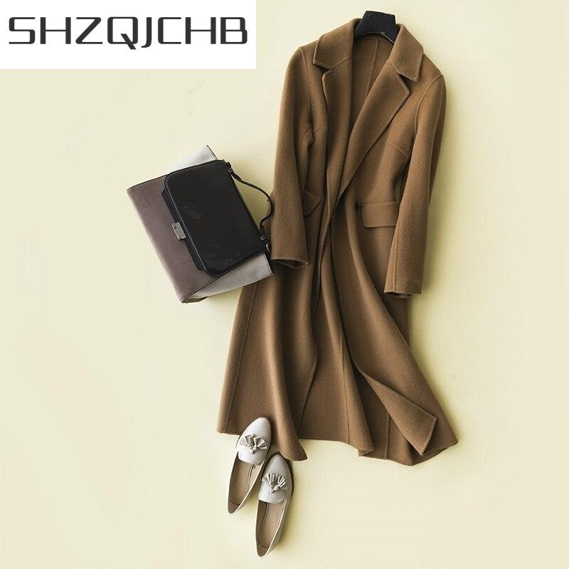JCGB 2021 100% шерстяные пальто женские куртки из натуральной шерсти женское кашемировое пальто тонкая Корейская Длинная зимняя весенняя одежда LWL1399
