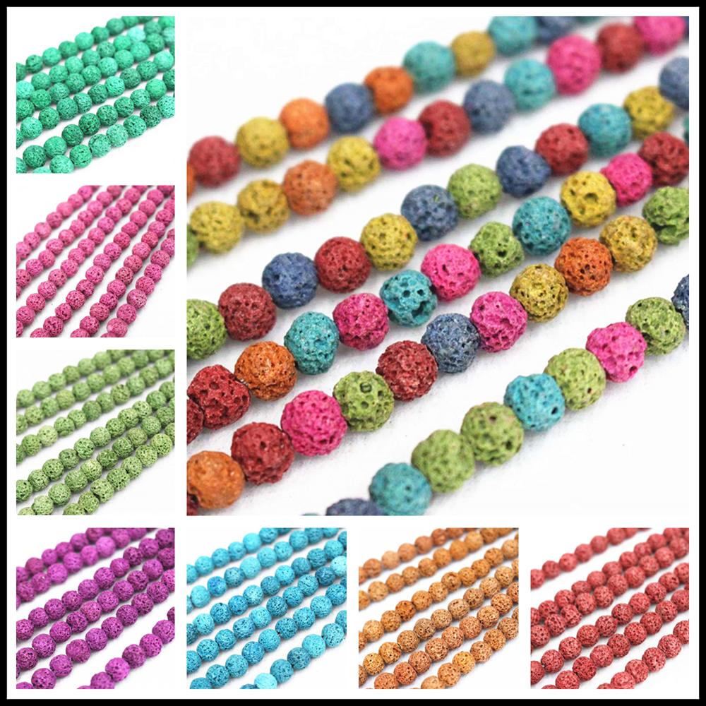 Großhandel Natürliche Lava Lose Perlen, 4mm 6mm 8mm 10mm 12mm 14mm 16mm Vulkangestein Lava Runde Perlen. DIY Schmuck Machen Perlen