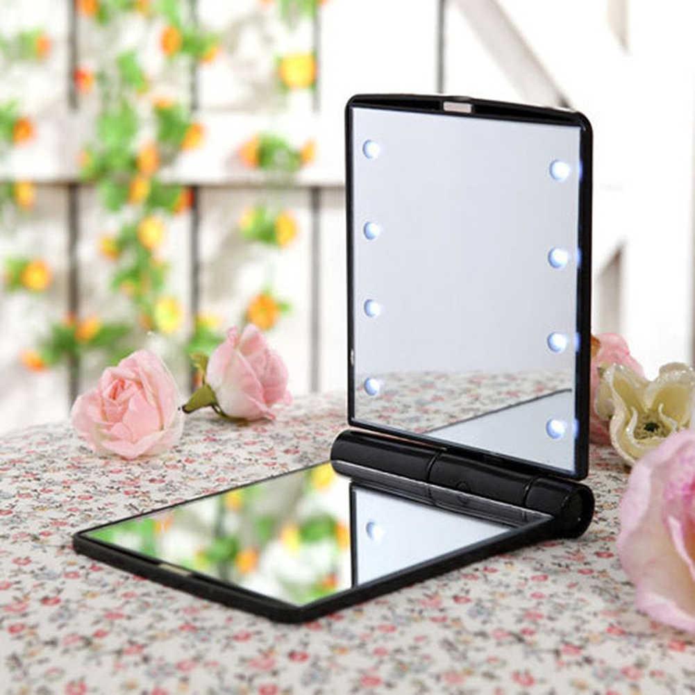 Espejo de maquillaje con 8 LEDs plegable con soporte operado por batería para mesa de baño de viaje portátil luz LED espejo de maquillaje cosmético