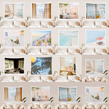 Jayi Arch and Window Seaside Scenery Tapestry Painting Home Decoration Bedroom 3D Wall Hanging Yoga Beach Towel 295GT
