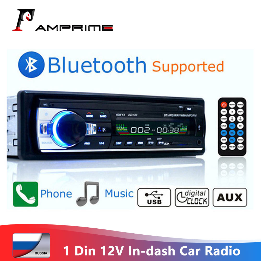 AMPrime JSD-520 Car Radio Bluetooth 12V In-dash 1 Din Stereo Autoradio Player AUX-IN MP3 FM Receiver SD USB SD Car audio Player image