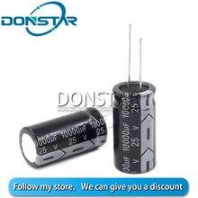 5 pces 25v 10000uf capacitor eletrolítico 25v 10000uf 18*35mm capacitor eletrolítico de alumínio
