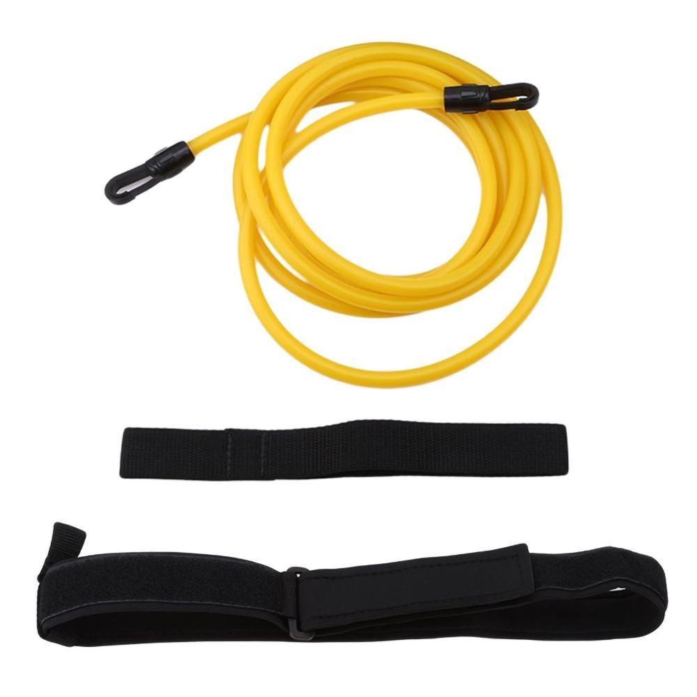 Купить с кэшбэком Adjustable Swim Training Resistance Belt Adult Kids Swimming Bungee Exerciser Leash Mesh Pocket Safety Swimming Pool Accessories
