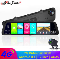 WHEXUNE 4G Android 8.1 ADAS dash camera 12 Rearview mirror 2G RAM + 32G ROM GPS Navigation car video recorder WiFi night vision