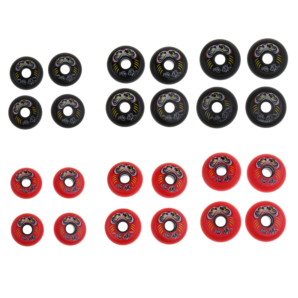 4Pcs Premium PU Inline Roller Hockey Fitness Printing Skate Wheels 85A High Elasticity Replacement Accessories 72/76/80mm