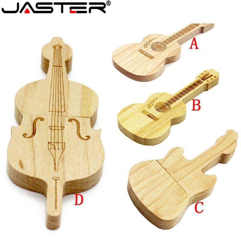 JASTER 1PCS Free Custom Logo Guitar Shaped Pen Drive Wooden Music Usb Flash Drive Memory Stick Pendrive 4GB 8GB 16GB 32GB 64GB