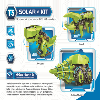 Solar toy robot diy assembled model dinosaur technology making 3 in 1 polymorph 4