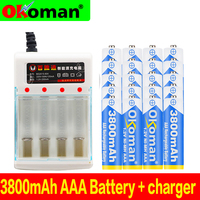 Figh quality 1.2V 3800mAh NI MH AAA Pre-Charged Ni-MH Rechargeable aAa Battery For Toys Camera Microphone Batteries + Charger