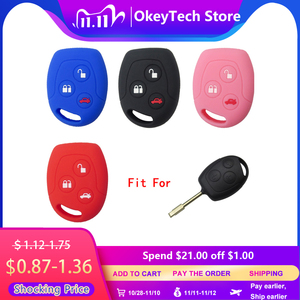 Image 1 - OkeyTech 3 Button Soft Silicone Car Key Case Set Cover For Ford Focus Mondeo 2 3 MK4 Festiva Fusion Suit Fiesta KA Protector Fob