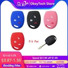 OkeyTech 3 кнопки, мягкий силиконовый чехол для ключей от машины, комплект, чехол для Ford Focus Mondeo 2 3 MK4 Festiva Fusion Suit Fiesta ка, протектор Fob