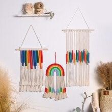 Rainbow Macrame Wall Hanging Boho Tassel Christma Room Decor Kawaii Baby Kids Nursery Bedroom Home Decoration Gift