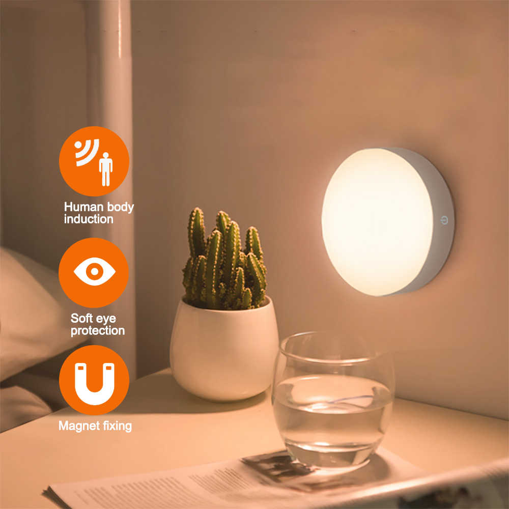 6 LED PIR Sensor de movimiento luz nocturna Auto On/Off para dormitorio gabinete inalámbrico USB recargable luz blanca cálida/blanca lámpara de pared
